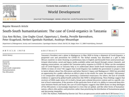 New Paper on South-South Humanitarianism: The case of Covid-Organics in Tanzania
