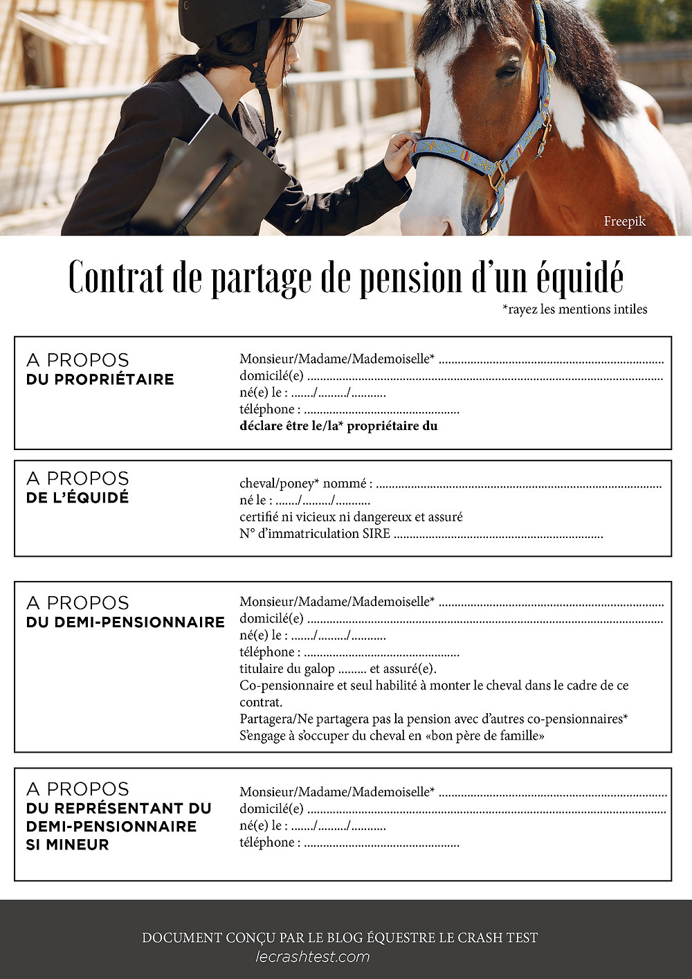contrat demi pension cheval