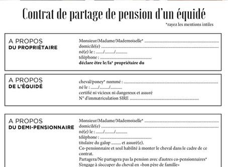 Contrat type de partage de pension d'un cheval (demi-pension) à télécharger en PDF