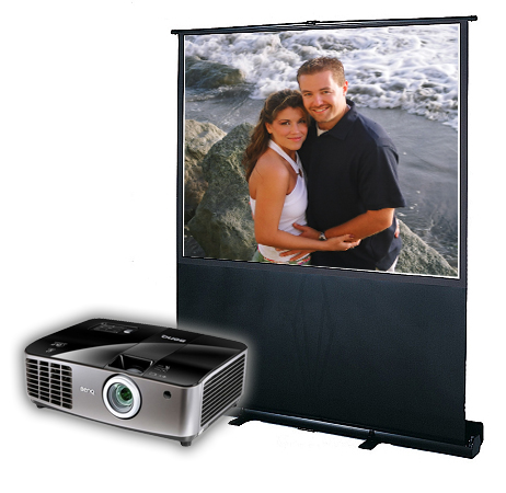 Pop-up projection screen & projector
