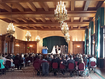Hotel Fort Garry Concert Ballroom wedding ceremony on stage