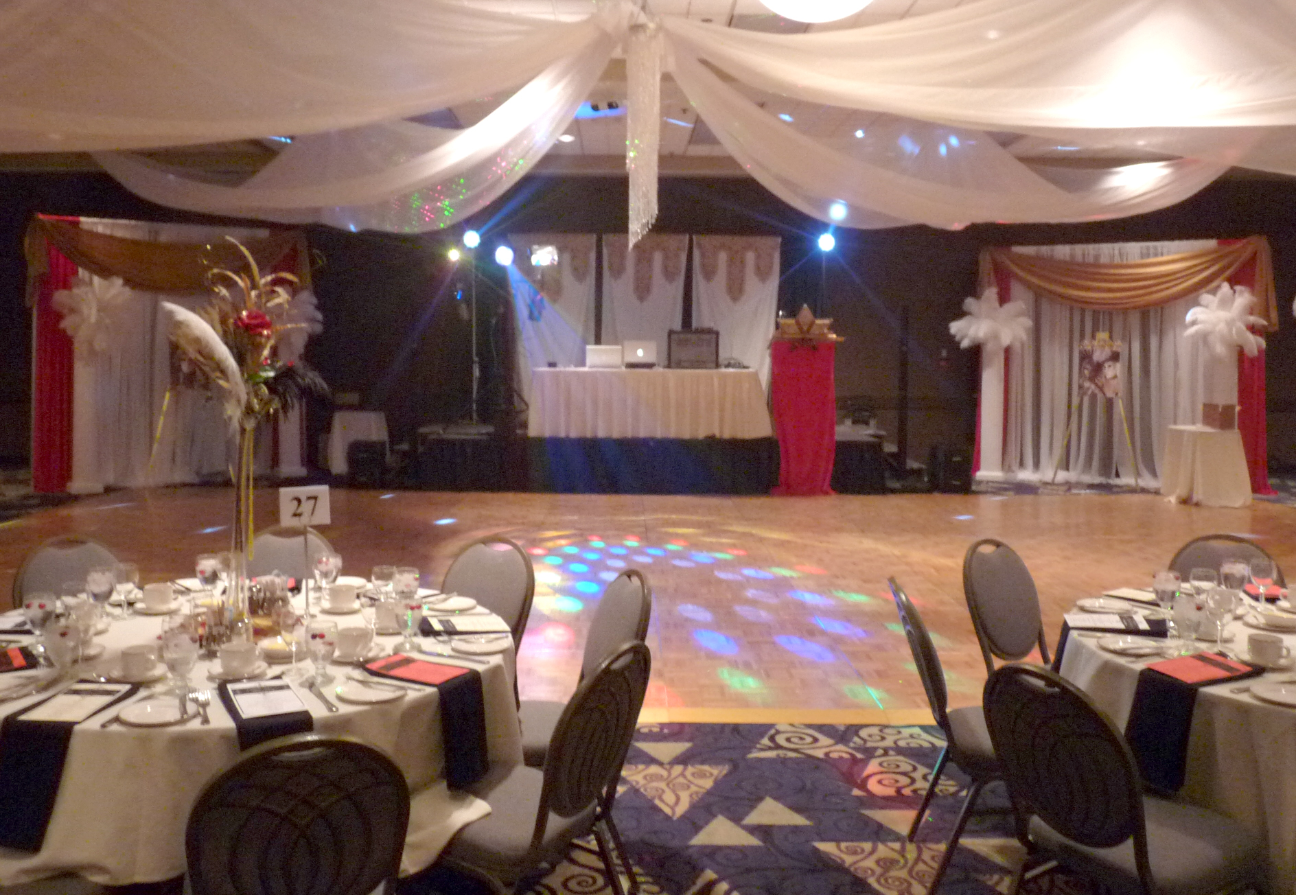 Set up for a graduation dinner dance
