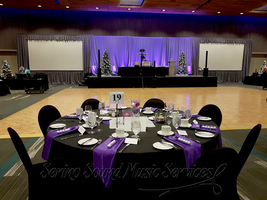 Purple Uplighting for Holiday Party