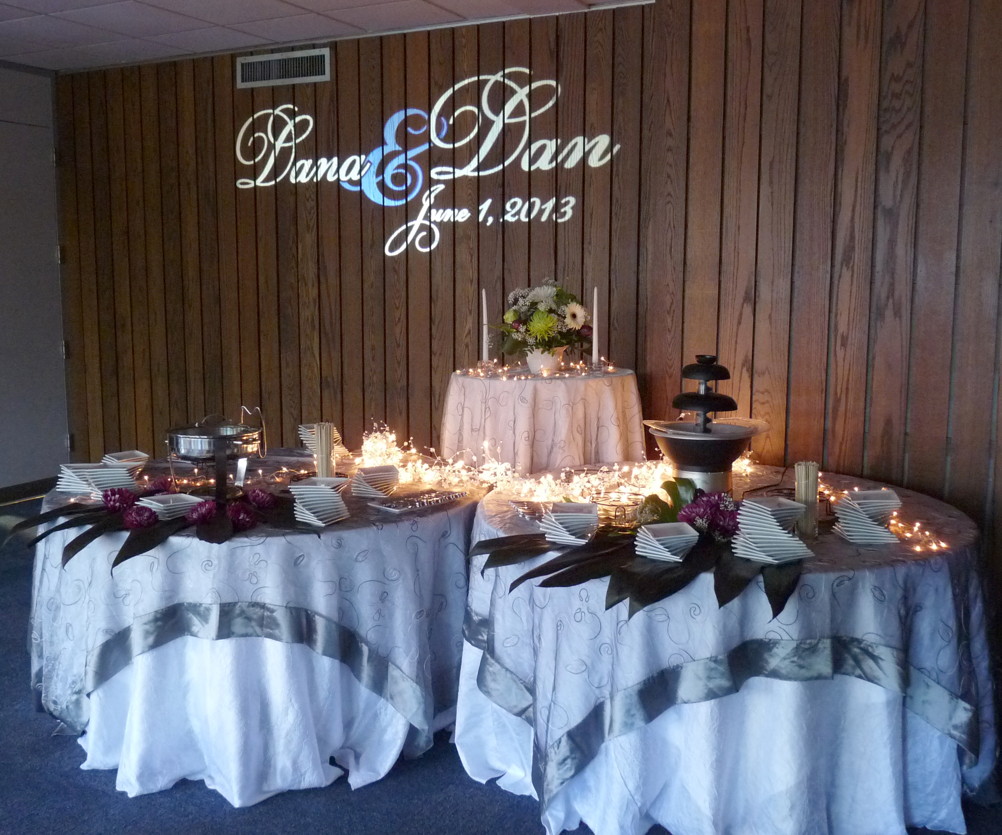 Wedding gobo over the sweets table