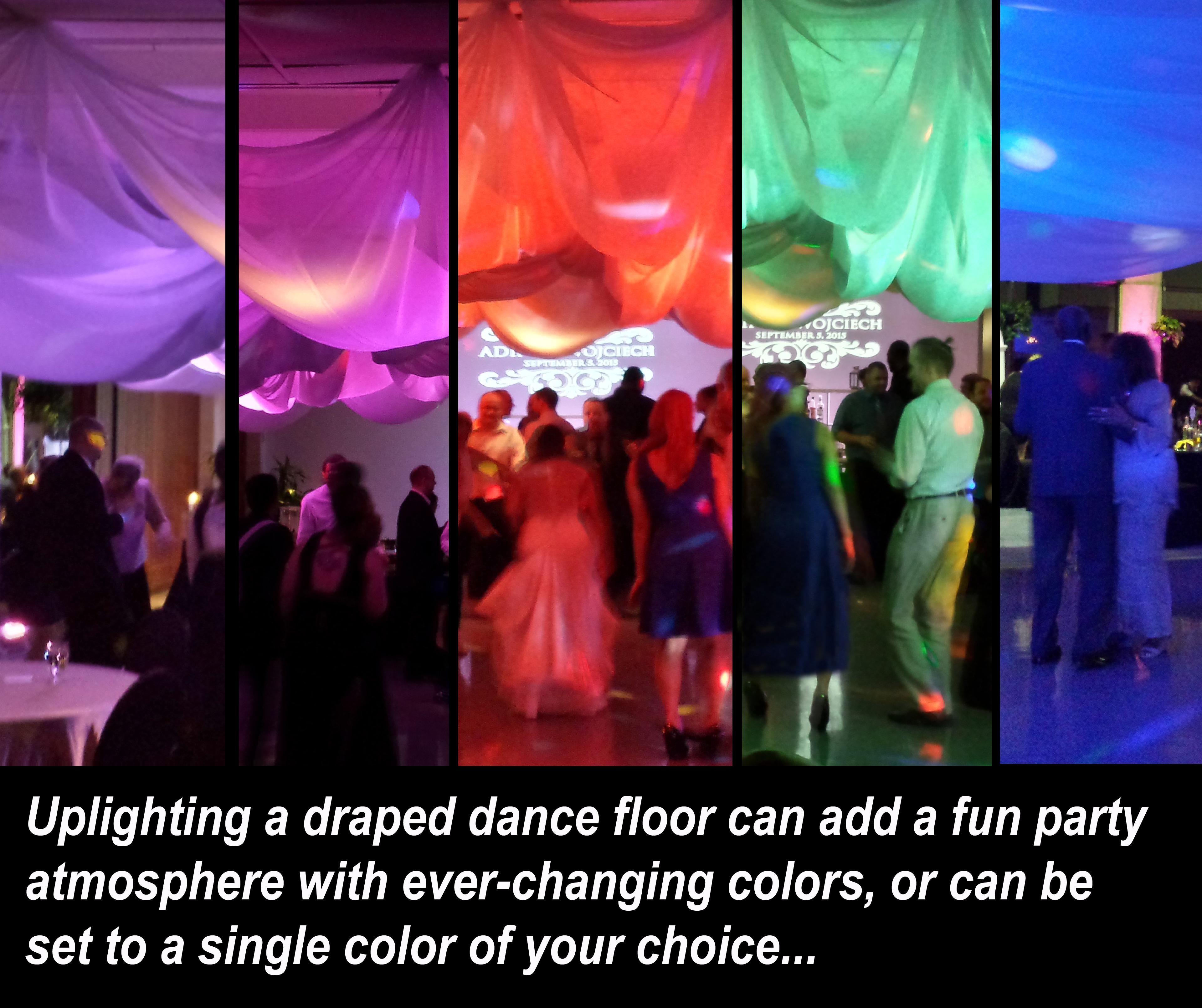 Colorful draped dance floor