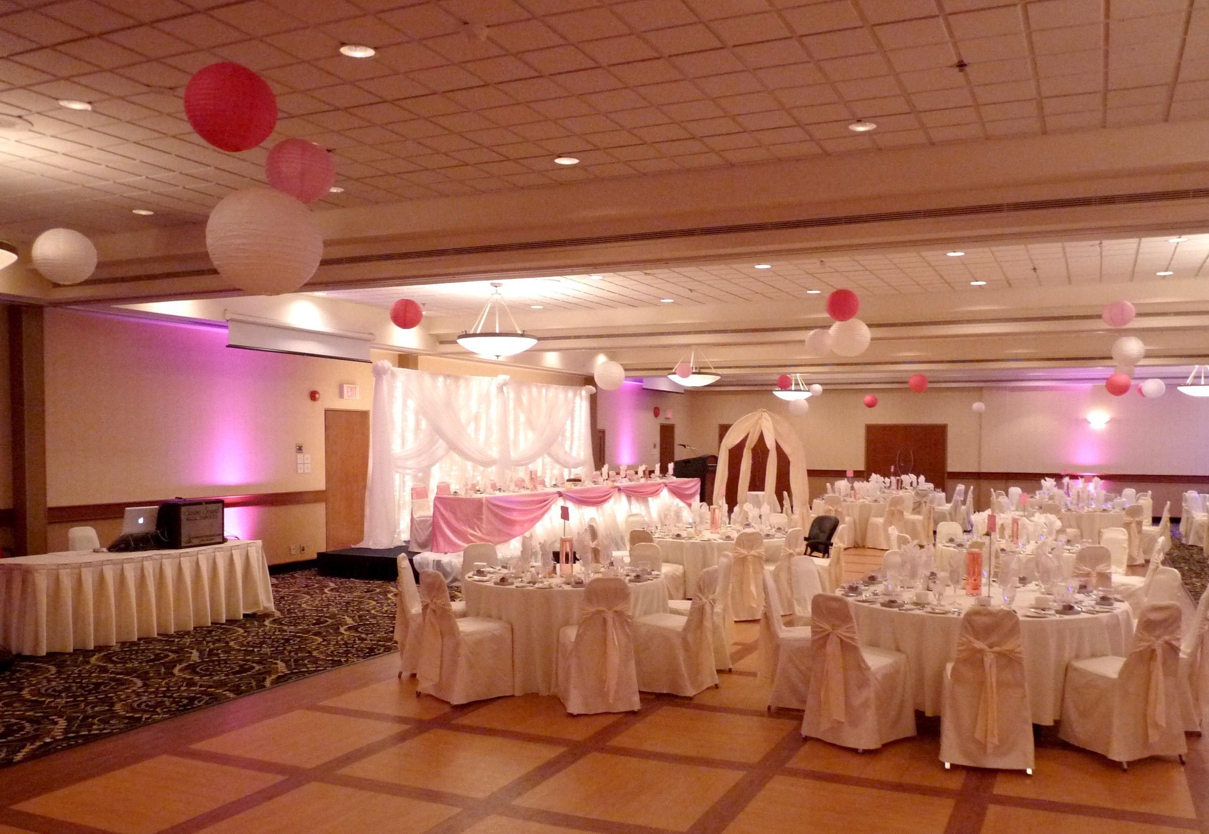 Pink uplighting to match decor
