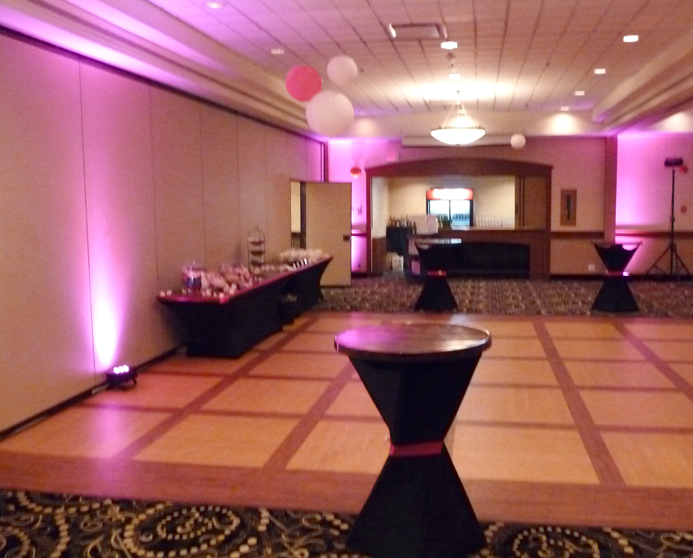 Uplights, lounge and candy areas