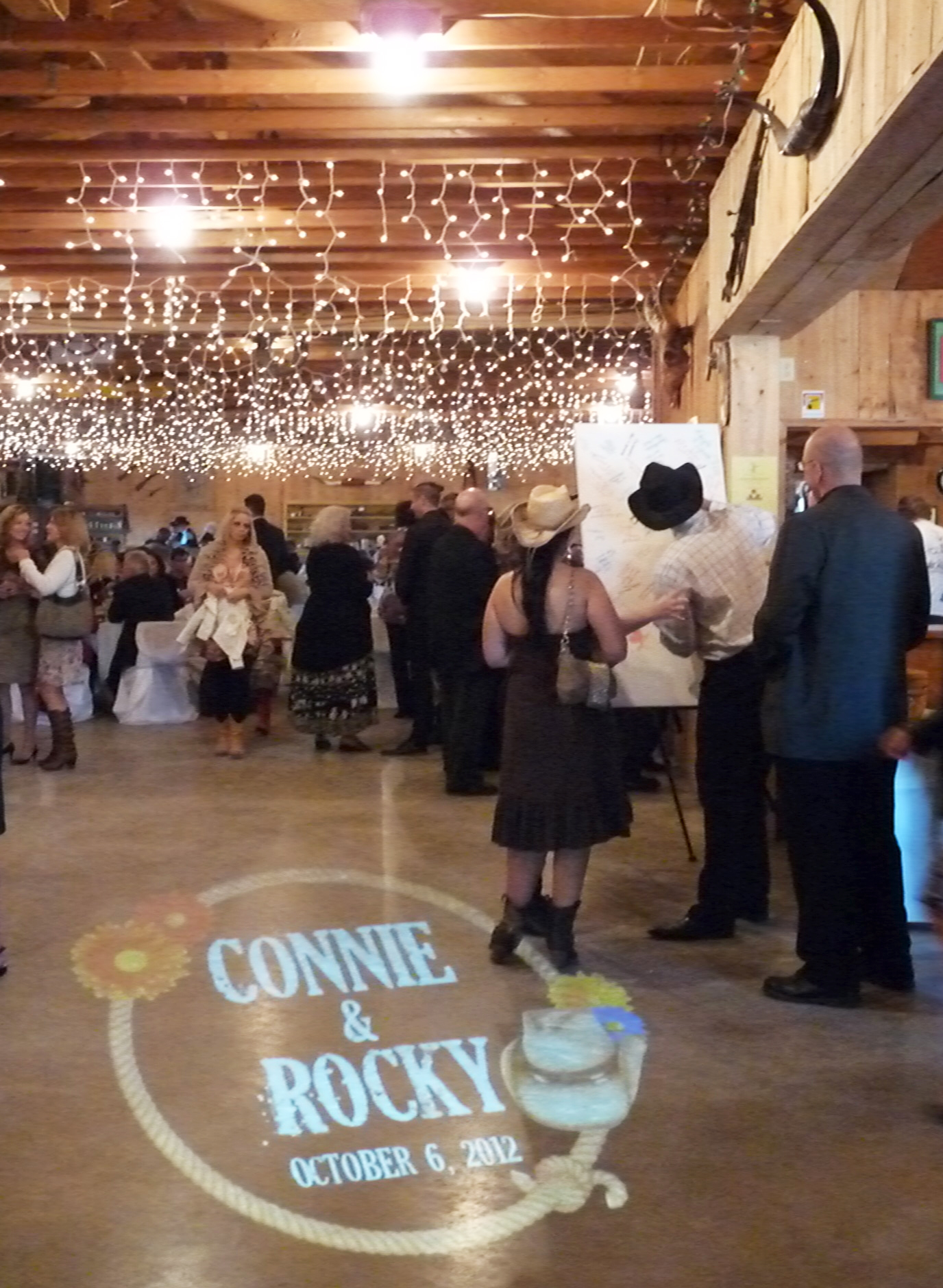 Custom gobo for a country wedding