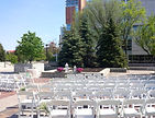 One of the outdoor wedding ceremony locations (University Centre walkway) next to the Marshall McLuhan Hall.