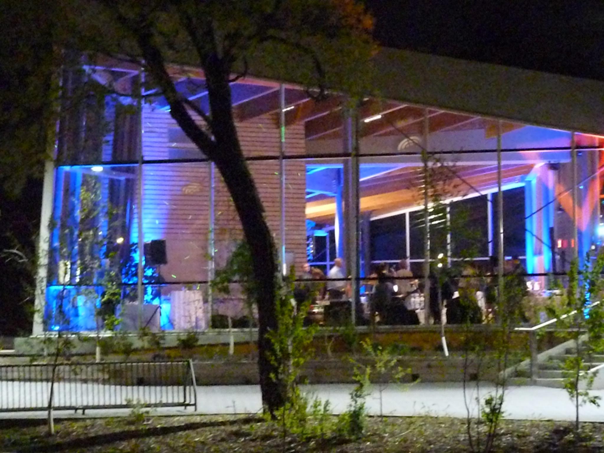 Blue uplights; Qualico Family Centre