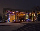 Qualico Family Centre with blue uplighting in Winnipeg Manitoba