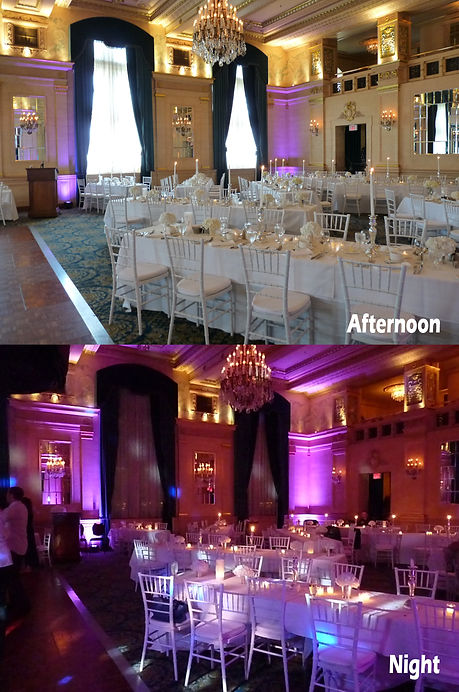 Wall washes can completely transform your event, such as at this wedding reception in the Fort Garry Hotel's Crystal Ballroom.