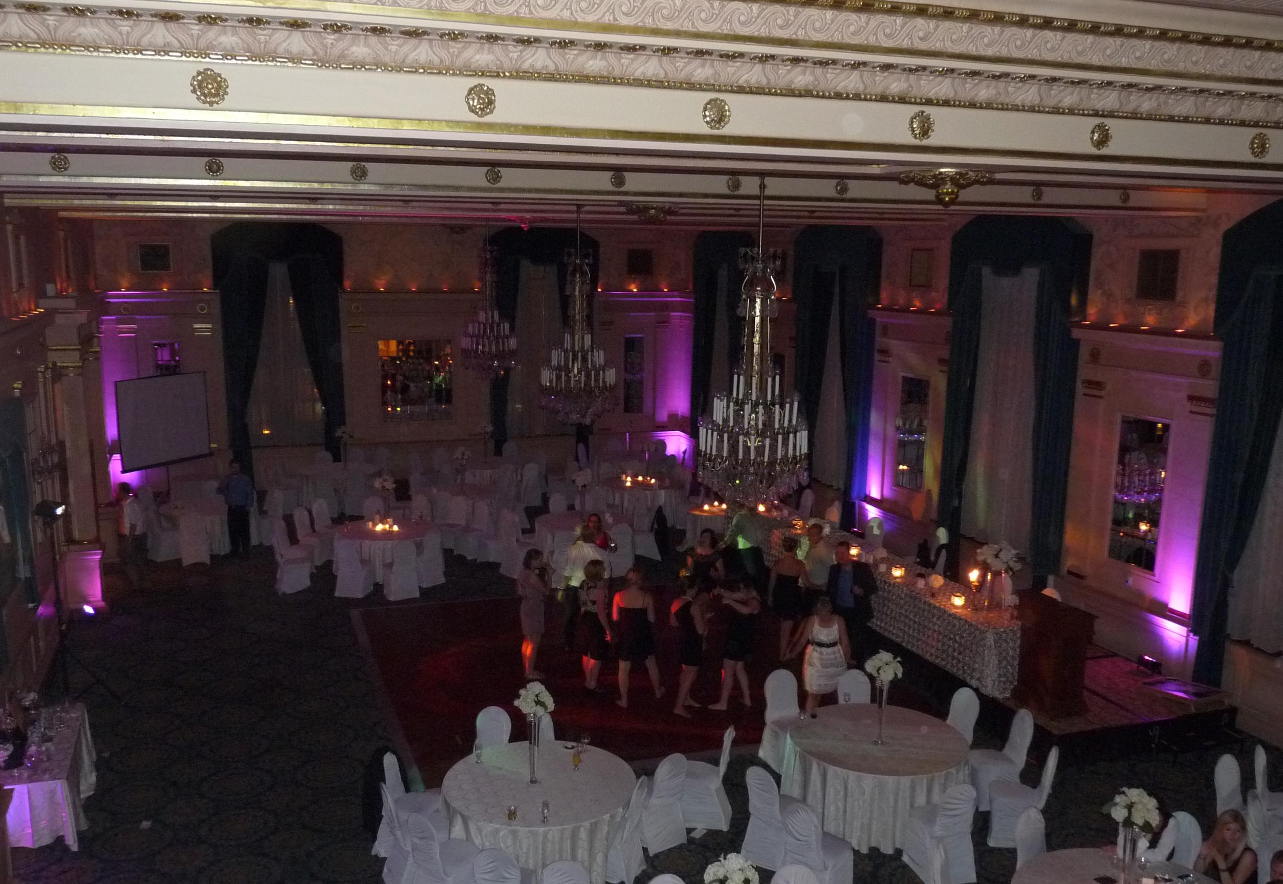 Purple uplighting; Crystal Ballroom