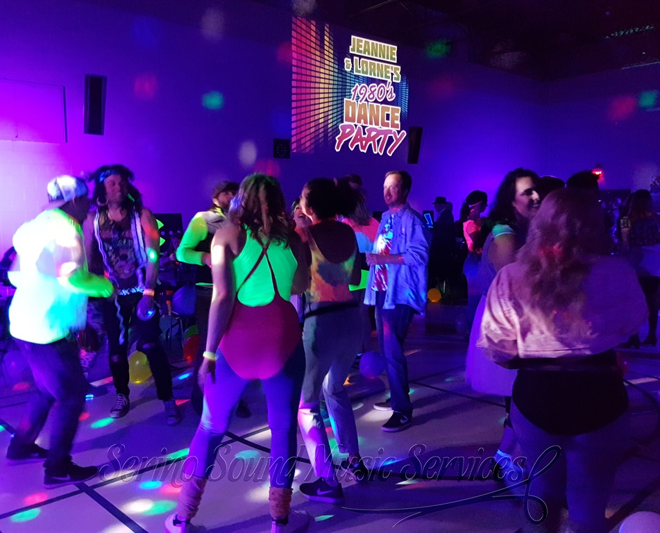1980's themed glow wedding social