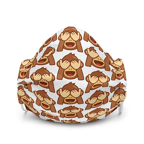 Premium face mask shy monkey pattern