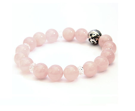 Resonance Bracelet - 4th Chakra Rose Quartz, with SV925 Energizing Garnet