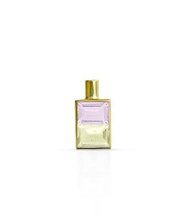 Gold Pendant, Pink Quartz & Lemon Topaz MC-61