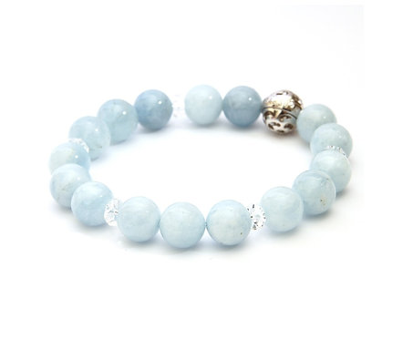 Resonance Bracelet - 5th Chakra Aquamarine, with SV925 Energizing Garnet