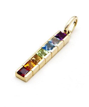 Gold Pendant Rainbow Chakra with Semi Precious...