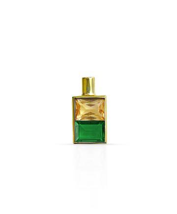 Gold Pendant, Citrine & Green Onyx MC-7