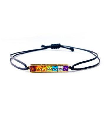 Gold Bracelet Rainbow Chakra with Semi Precious...