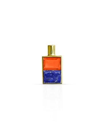 Gold Pendant, Cornilian & Lapis Lazuli M
