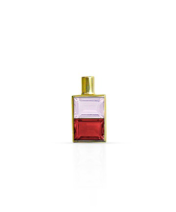 Gold Pendant, Pink Quartz & Garnet MC-84