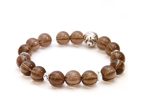 Resonance Bracelet - 1st Chakra Smoky Quartz, with SV925 Energizing Garnet