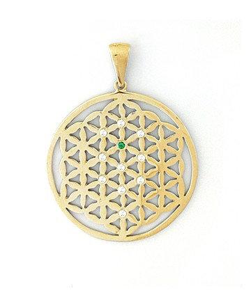 Gold Pendant with White Diamonds & Emerald MC-009