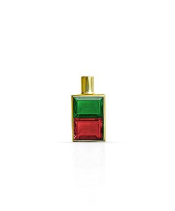 Gold Pendant, Green Onyx & Garnet MC-28