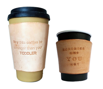Two sizes of leather Coffee cup sleeves