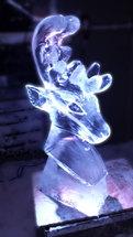 Reindeer Head Ice Sculpture