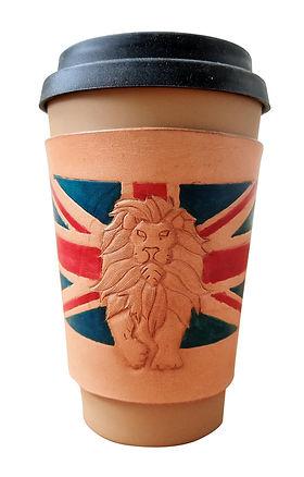 handmade Leather coffee sleeve with a lion and union jack