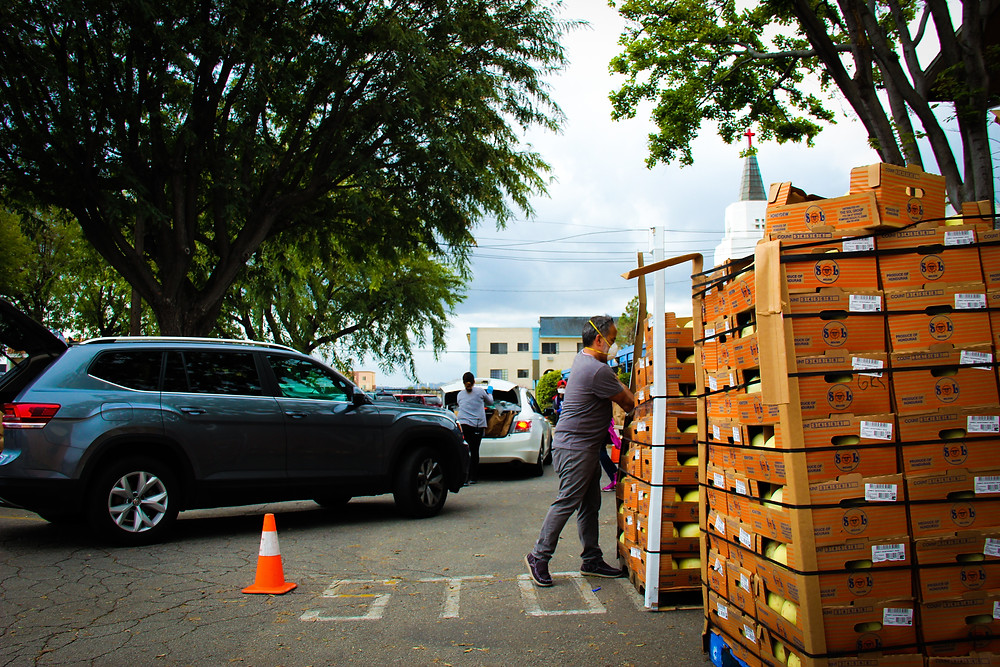 Volunteer reaching for grocery box