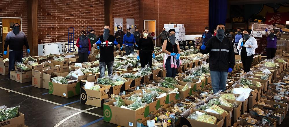 Volunteers packing boxes