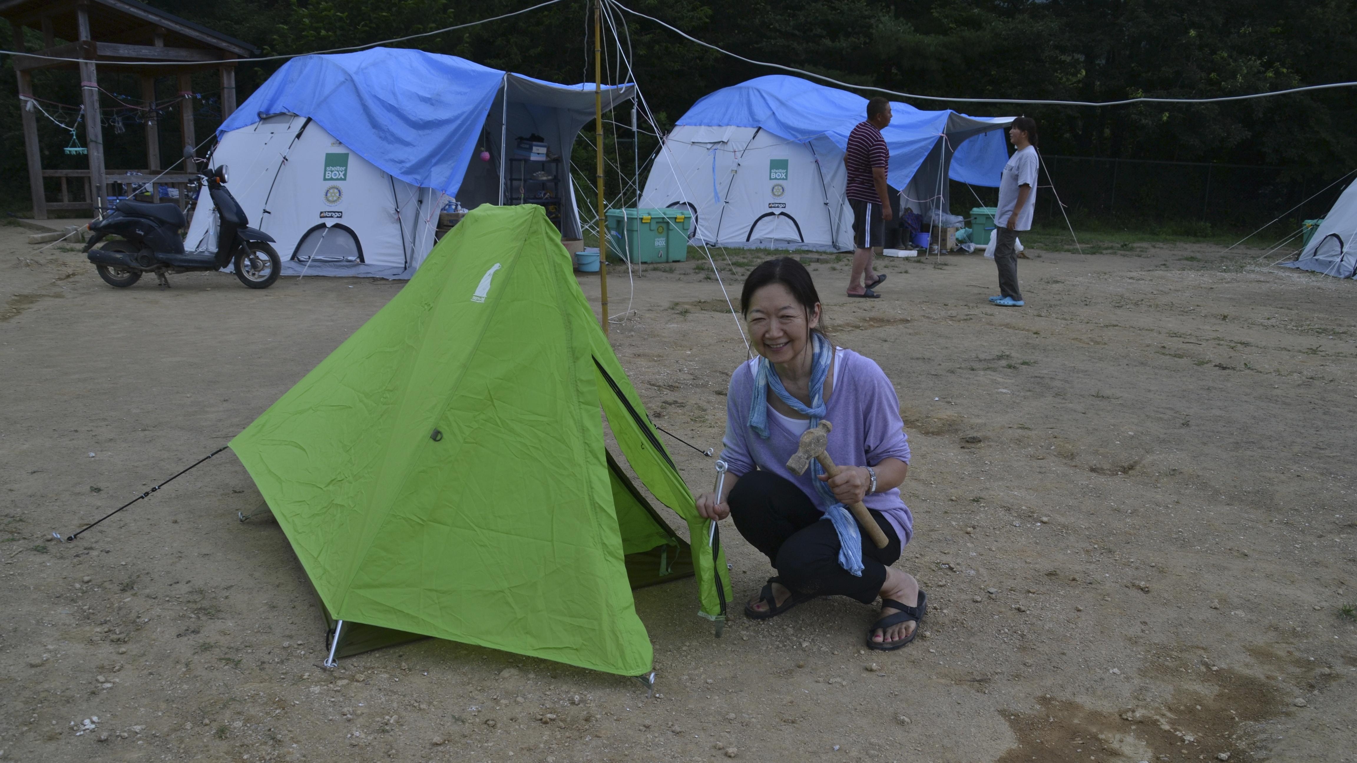 onagawa tent refugee center, linda and pup tent.JPG
