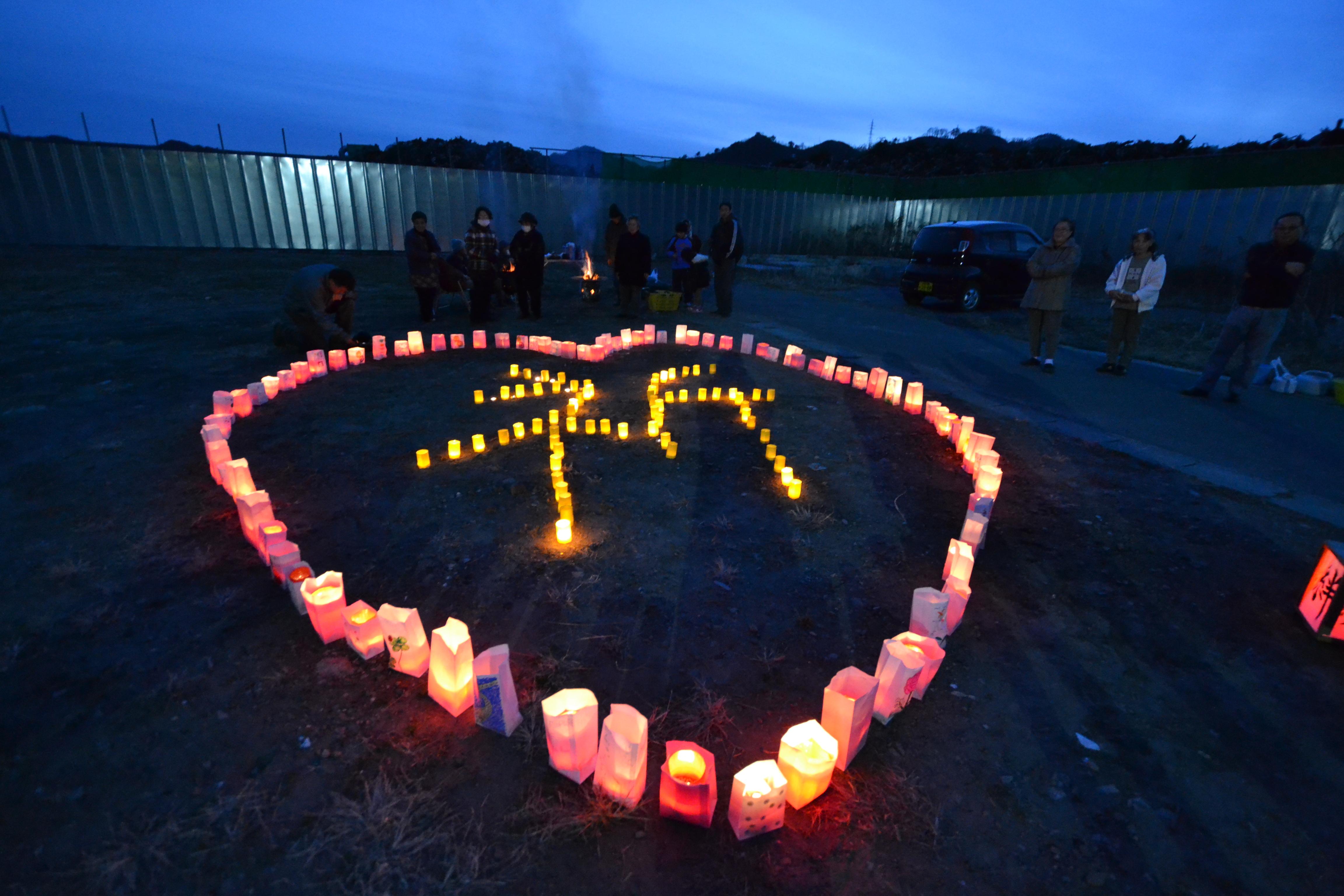 otsuchi candle memorial one heart gareki.JPG