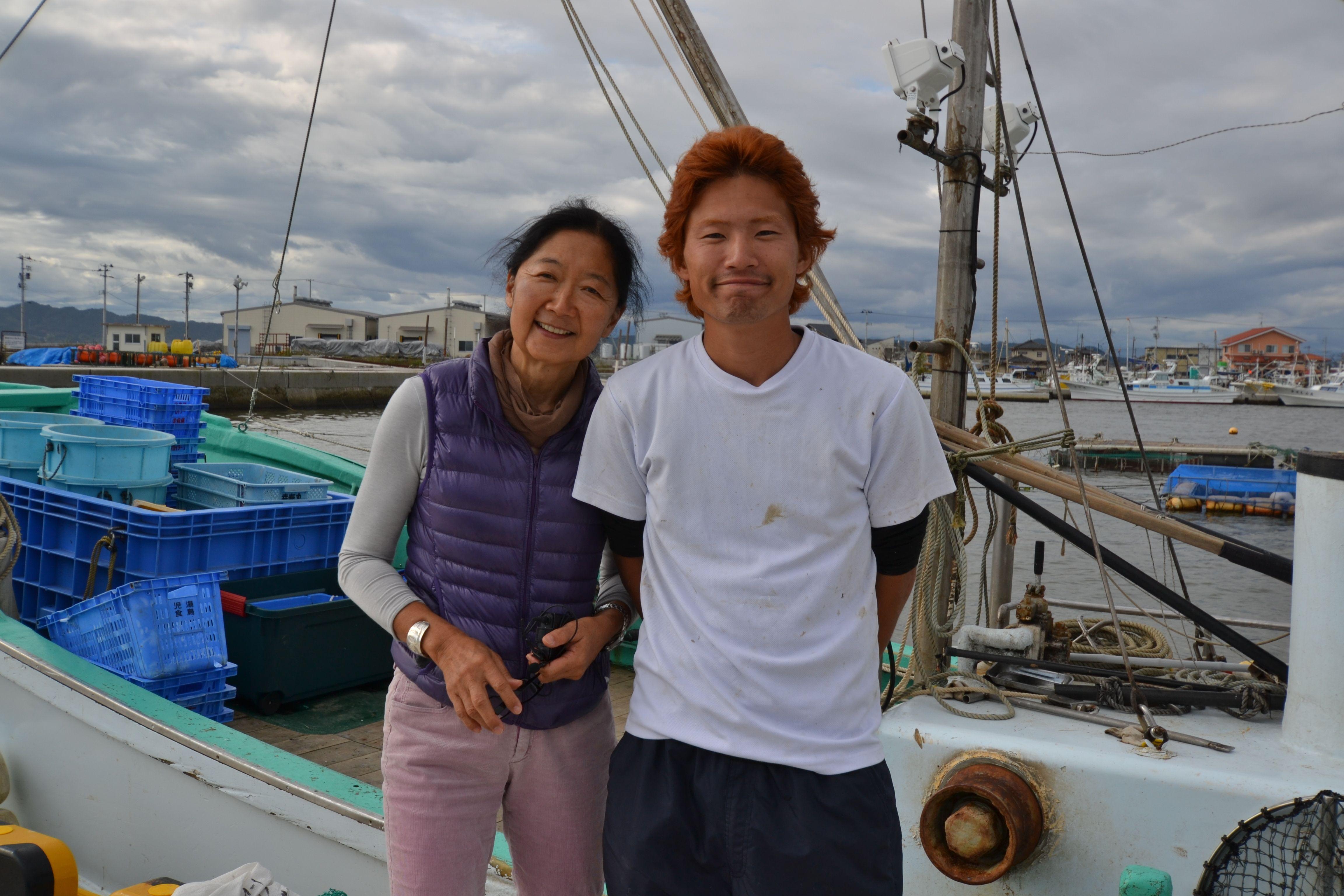 watari young mori fisherman, linda on boat.jpg