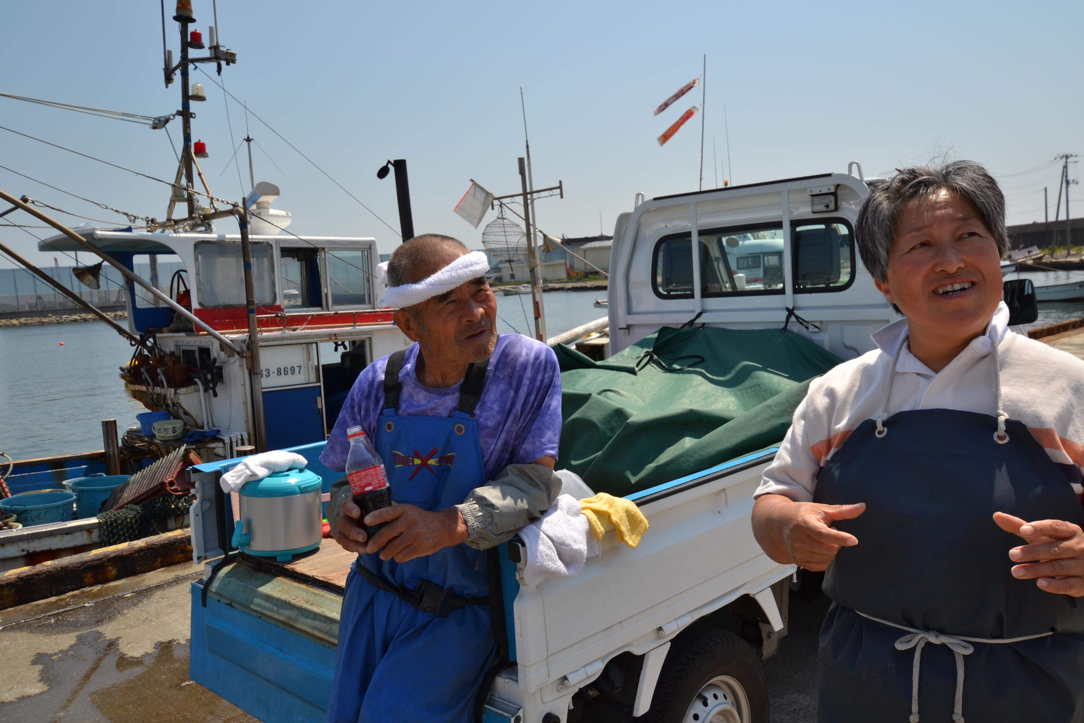arahama sato fisherman and daughter at harbor speak.JPG