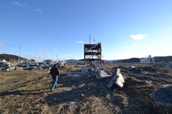 minamisinriku fire station shell and destroyed town.JPG