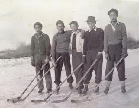 Ohama Bros on skates 1942.JPG