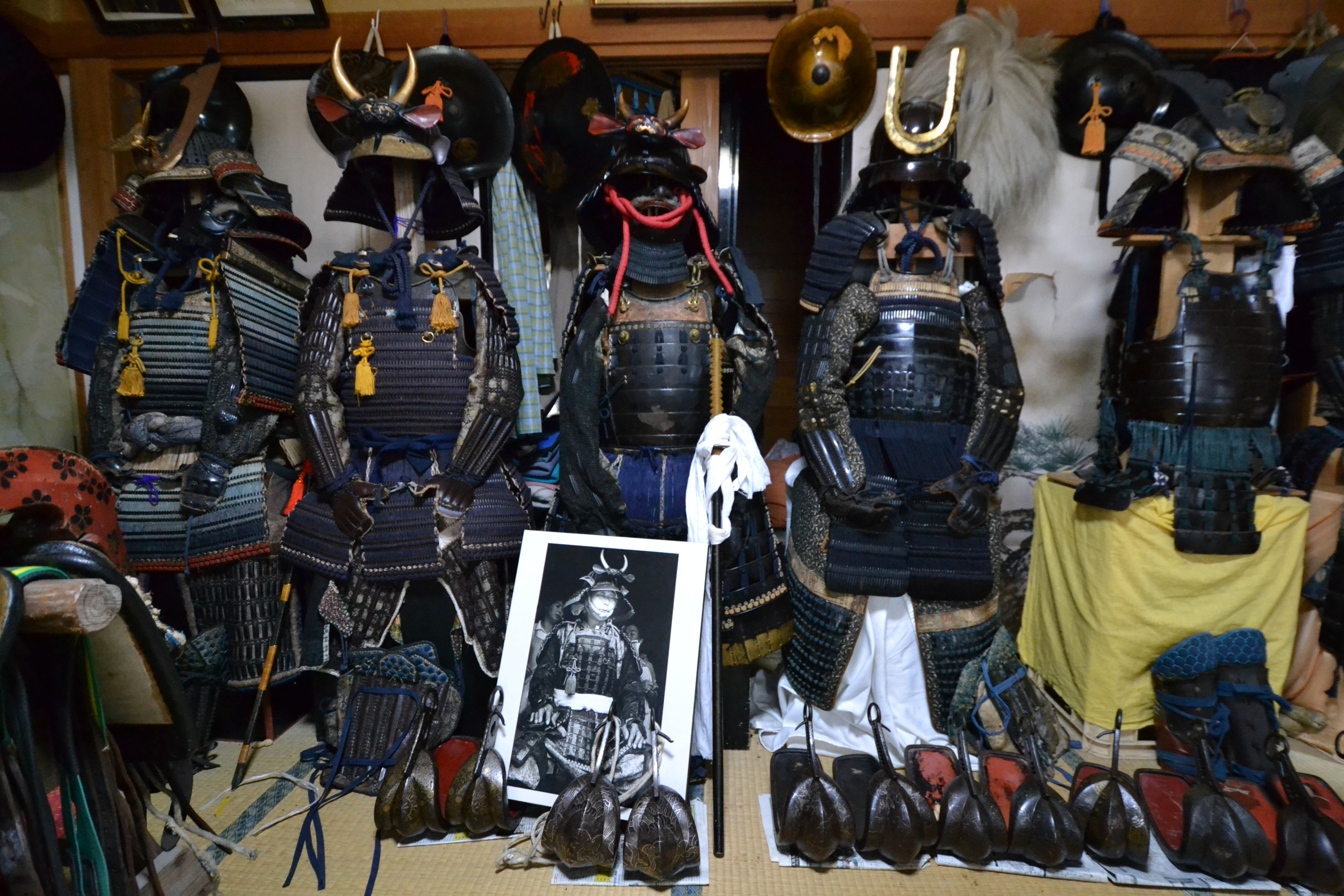 minamisoma samurai monma's armor lined up.JPG