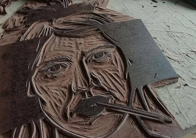 "gravure sur lino ""crayon"""