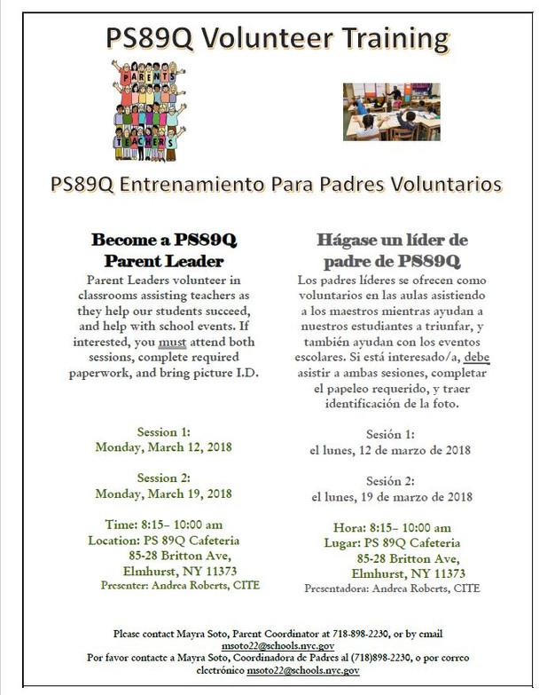 PS89Q Volunteer Training