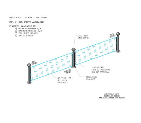522A - Ball Top Partition Posts