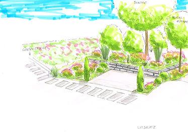 Sitzplatz im Garten, Steinmauer