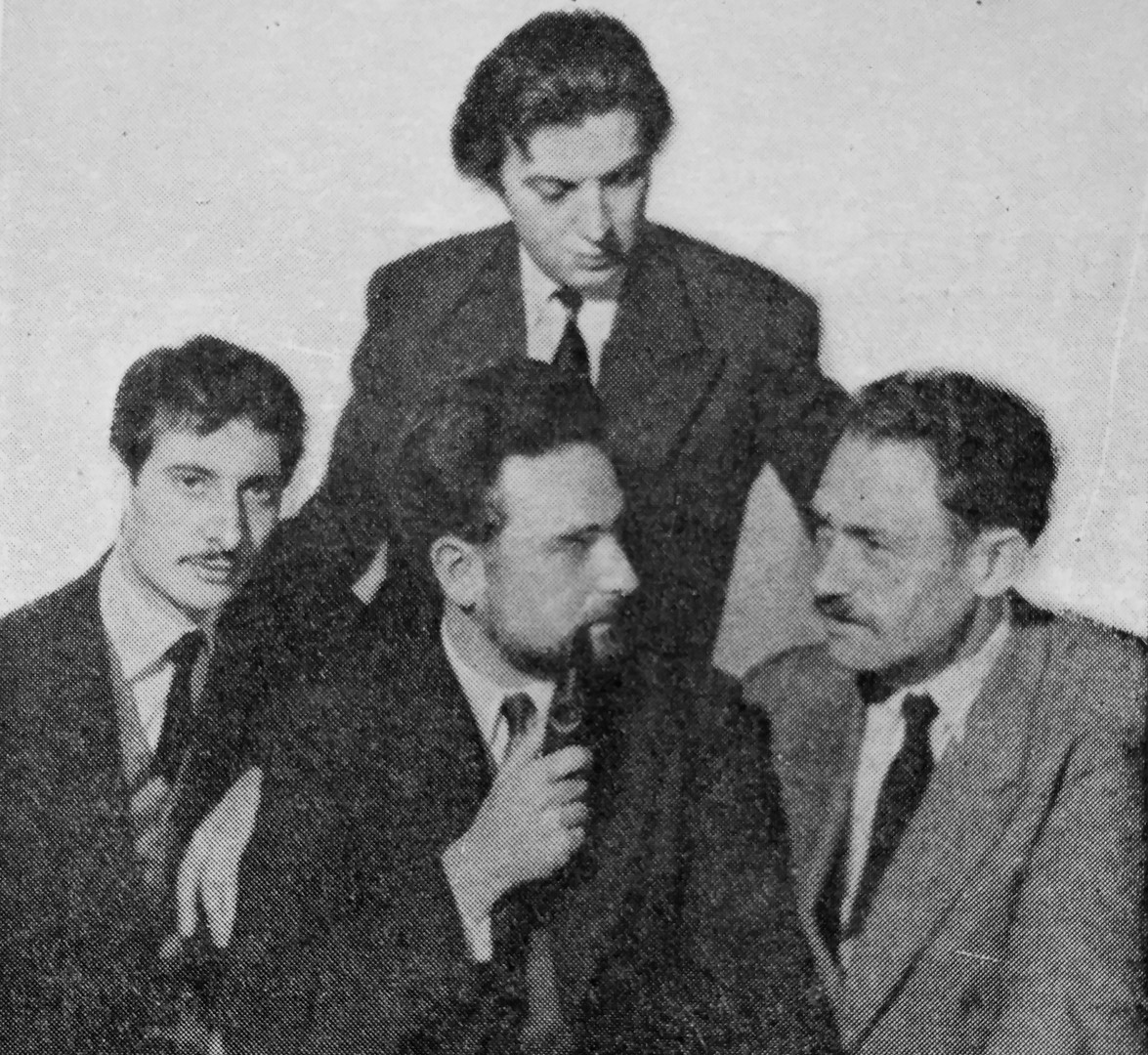 """The """"Groupe 84"""", created in 1953 by the composers (from left to right) Luc Ferrari, Yves Ramette (standing), Pierre Migaux, Bozidar Kantuser"""