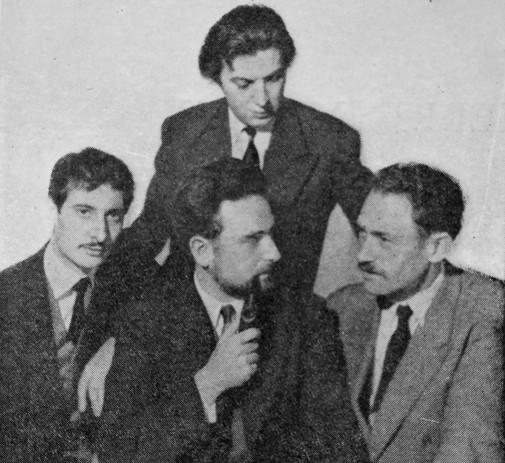 "The ""Groupe 84"", created in 1953 by the composers (from left to right) Luc Ferrari, Yves Ramette (standing), Pierre Migaux, Bozidar Kantuser"