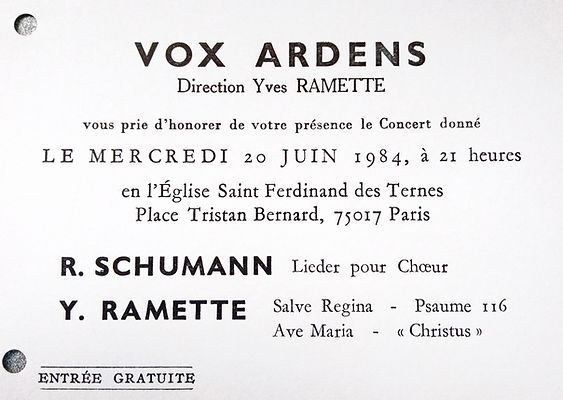 Cover Concert Vox Ardens (20 juin 1984)
