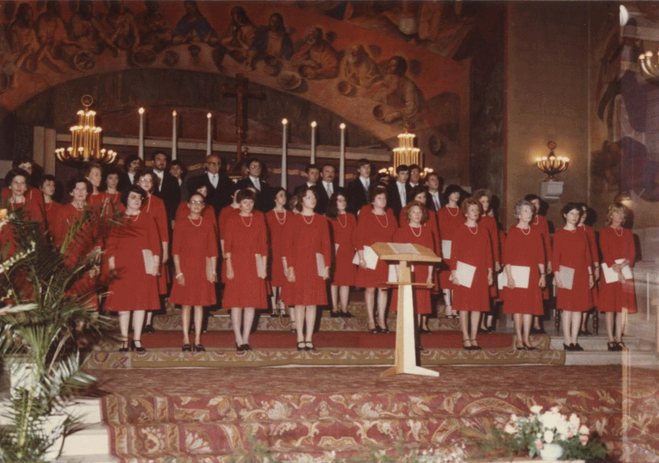 "Yves Ramette's choir ""Vox Ardens"" during a concert"